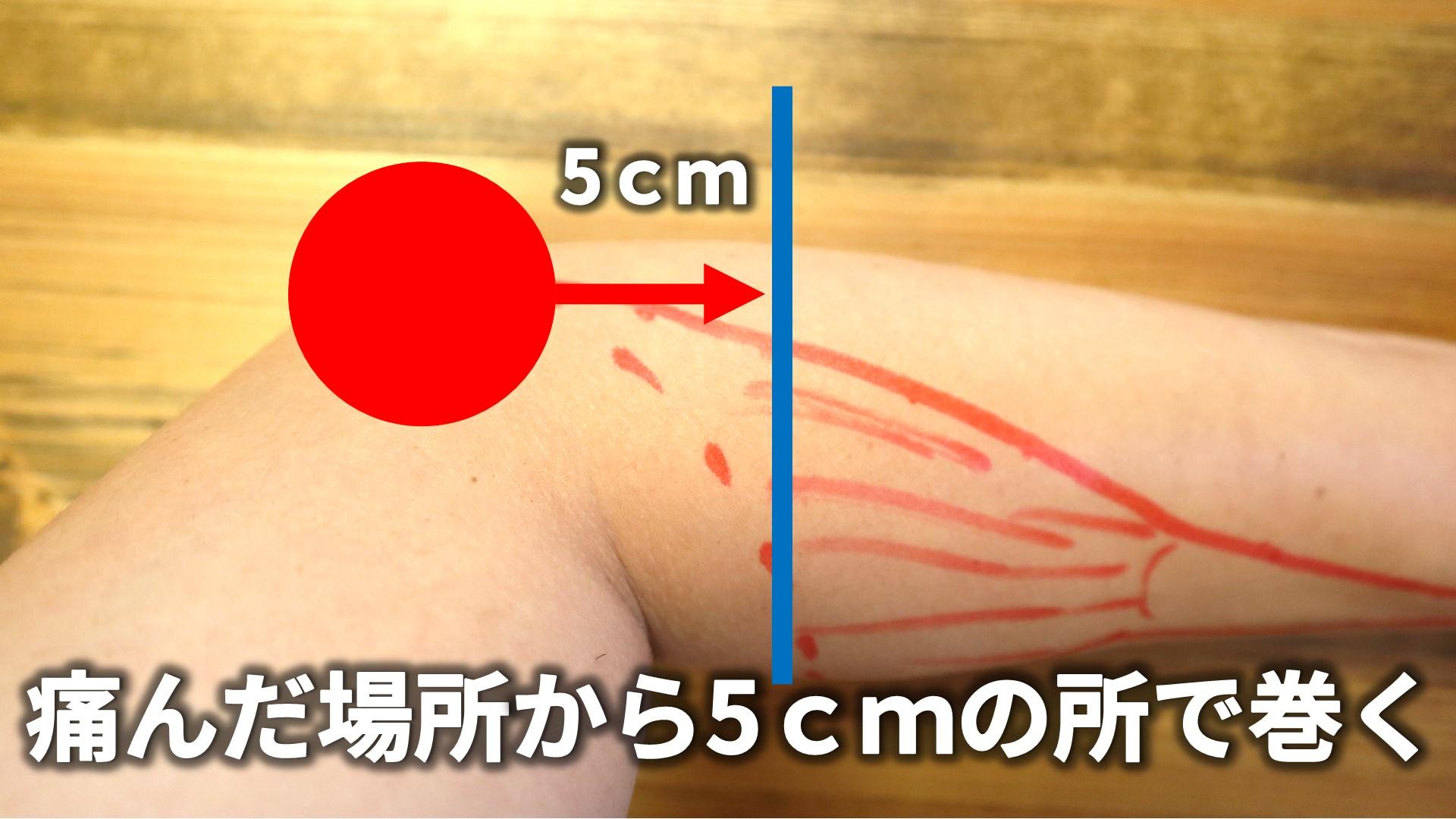痛みが出ている部分から5cmほど下の場所に巻く